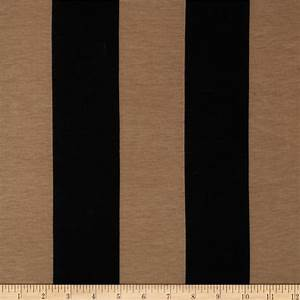 Soft Jersey Knit Large Stripes Black/Tan - Discount