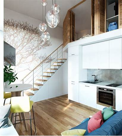 Loft Apartment Moscow Bedroom Studio Stairs Space