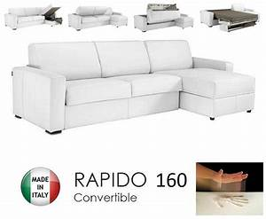 Canape d39angle convertible rapido 160cm dreamer cuir for Nettoyage tapis avec canape convertible rapido dreamer