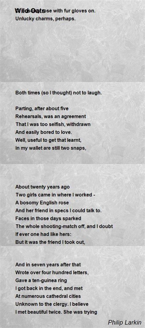 wild oats poem  philip larkin poem hunter