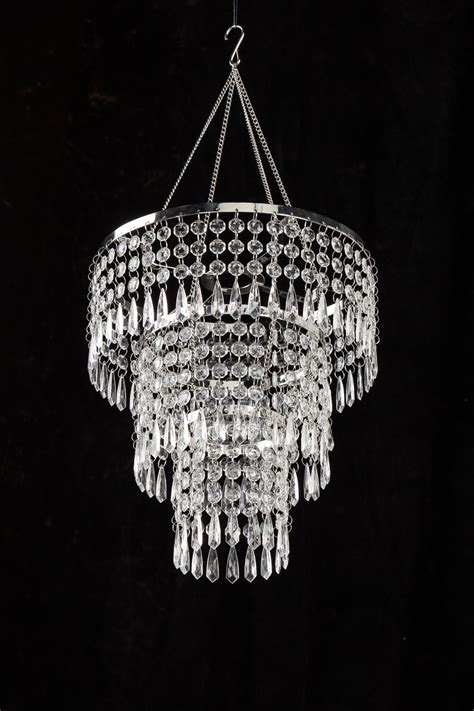 3 tiered acrylic drops chandelier w light kit ebay