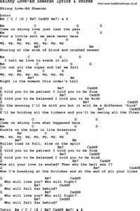 Love Song Lyrics for: Skinny Love-Ed Sheeran with chords for Ukulele ...