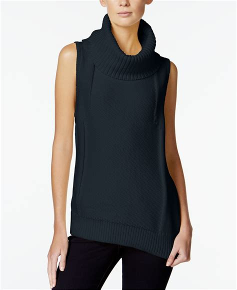 sleeveless turtleneck sweater armani exchange sleeveless turtleneck sweater in blue lyst