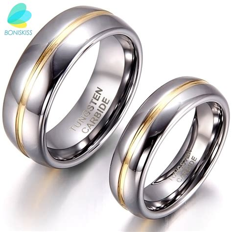 boniskiss couple gold inset tungsten carbide ring
