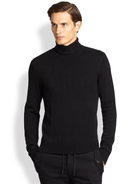 mens wool turtleneck sweater michael kors turtleneck sweater in black for