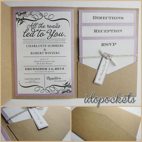 Kraft Wedding Pocket Invitations Diy Pocketfold Envelopes