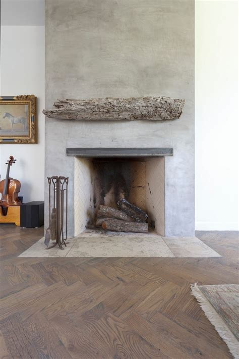 Plaster Fireplace And Driftwood Mantle