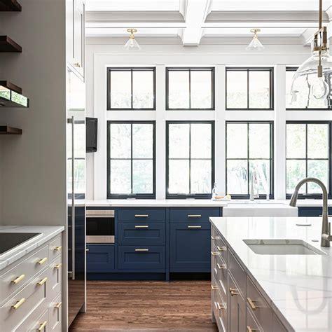 modern farmhouse kitchen enhanced  wall  black windows