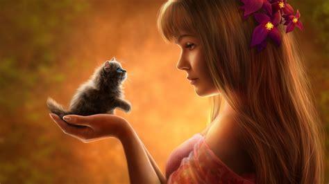 wallpaper fantasy girl cute kitten hd cute