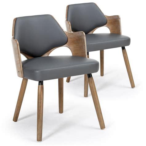 chaise menzzo chaises scandinave simili cuir gris mias lot de 2 pas