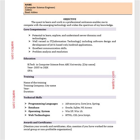 Resume Format In Word Free by Top 10 Fresher Resume Format In Ms Word Free