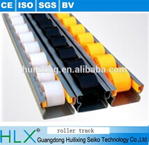 black belt bracket with white warehouse storage roller track for pipe rack system