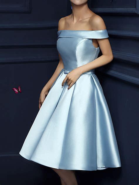 light blue of the dress order limited light blue shoulder bow waist