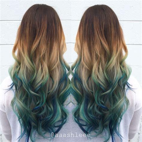 Ombre Teal Blue Rainbow Hair Creative Hair Colour Hair