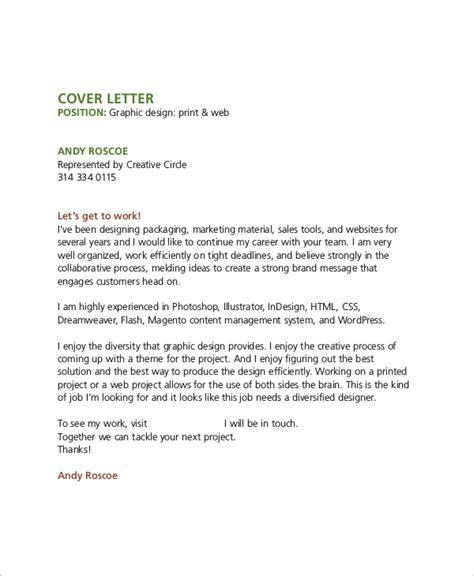 Cover Letter For Designer by Sle Graphic Design Cover Letter 8 Exles In Word Pdf