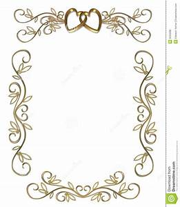 7 best images of free printable wedding borders gold for Golden wedding invitation borders free download