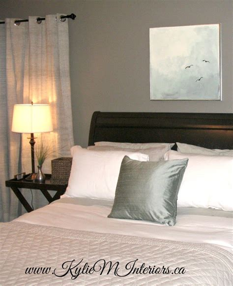 Bedroom With Chelsea Gray Walls White Linens Black