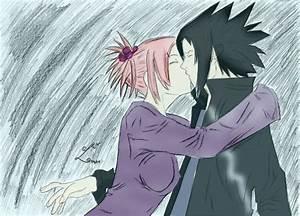sasusaku kiss in the rain by 25mar25 on DeviantArt