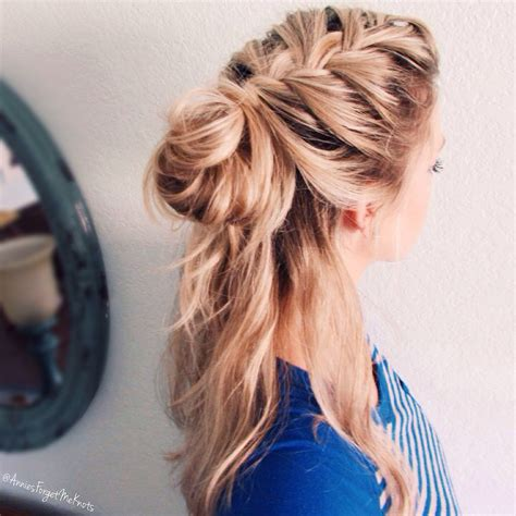 How To Half Up French Braid Messy Bun Hair Pinterest