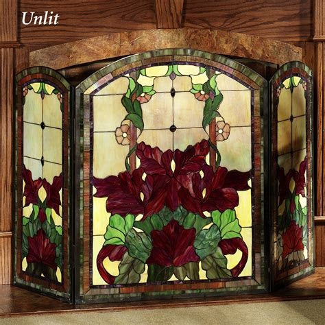 stained glass fireplace screen yvette decorative floral stained glass fireplace screen