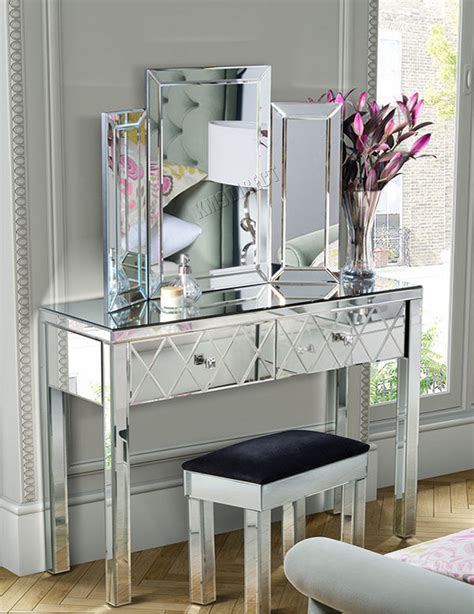 table chambre foxhunter mirrored furniture glass dressing table with
