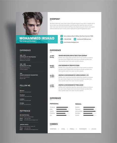 free modern resume cv design template psd file resume