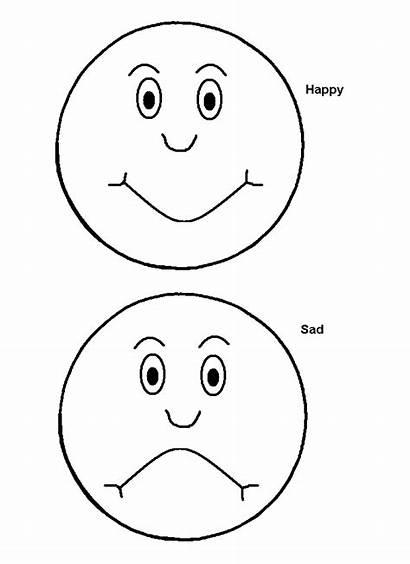Sad Happy Emotions Coloring Face Faces Smiley