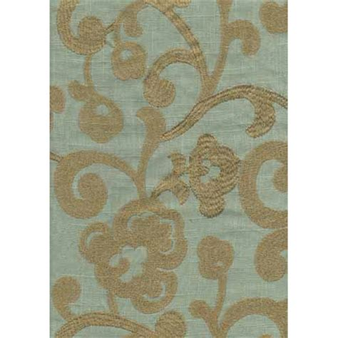 vienna linen blue embroidered drapery fabric 19687