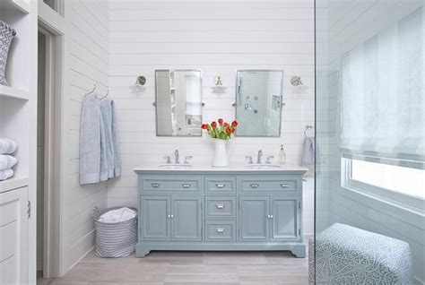 powder room dual washstand with light gray porcelain tile