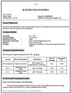 resume format for freshers be computer science a beautiful and professional resume sle template