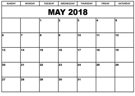 Calender Template Free May 2018 Calendar In Printable Format Templates