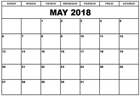Free Calendar Template Free May 2018 Calendar In Printable Format Templates