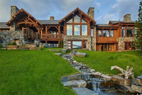 pin  garrett jones  exterior big sky log cabins  sale cabin life
