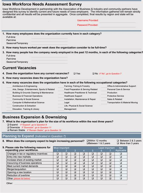 creating business  assessment survey  formats