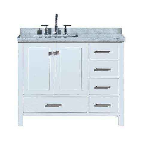 ariel cambridge   bath vanity  white  marble vanity top  carrara white  white