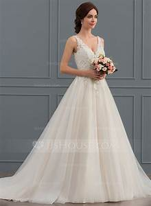 ball gown v neck court train tulle wedding dress With wedding dressing