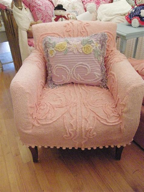 slipcovered chairs shabby chic slipcovered chairs shabby chic chair with chenille bedspread slipcover shabby chic flickr