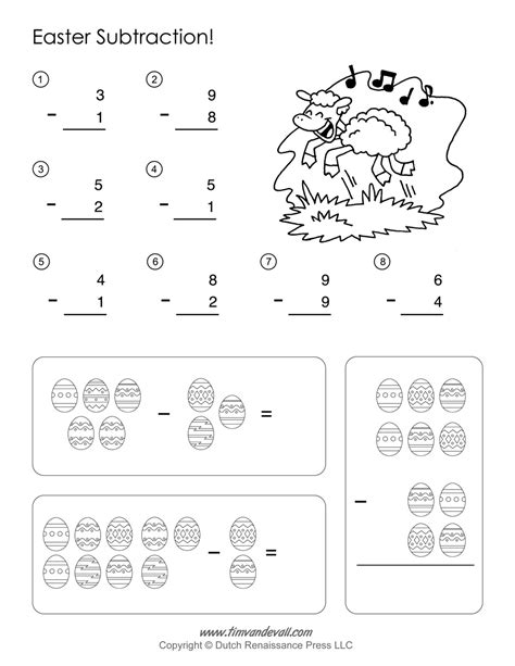 easter math worksheets subtraction worksheet easter