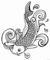 Koi Fish Printable Coloring Template Carp Meaning Tattoos Pdf Coloring4free Templates Symbolism Reader Need These sketch template