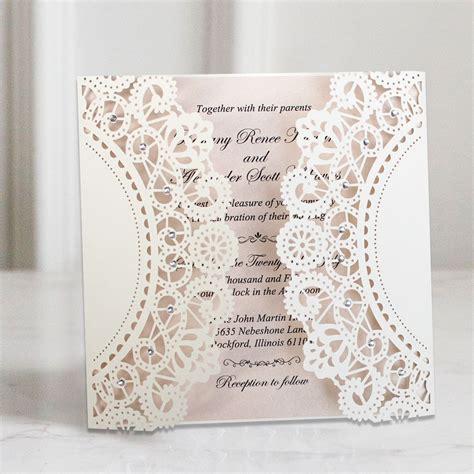 White Lace Wedding Invitations Customized invitation Cards