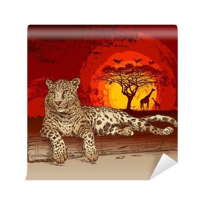 Fliesenaufkleber Leopard by Fototapete Leopard Bei Sonnenuntergang Pixers 174 Wir