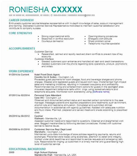 Front Desk Hotel Resume by Hotel Front Desk Resume Sle Resumes