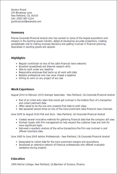 Corporate Finance Manager Resume by Professional Corporate Financial Analyst Templates To Showcase Your Talent Myperfectresume
