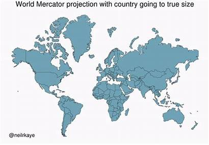Projection Actual Mercator Countries Animated Animation Around