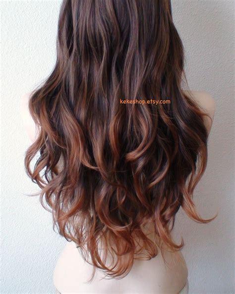 Ombre Wig Lace Front Wig Brownauburn Ombre Wig Long Wavy