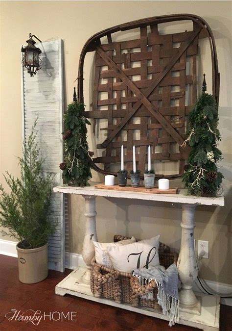 neutral winter decor tobacco basket decor  hamby home