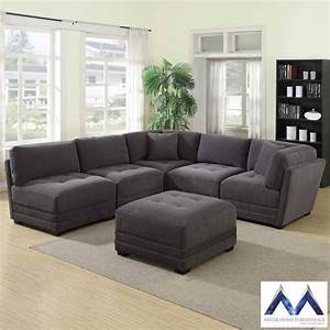 mstar international 6 piece modular grey fabric sectional With 6 piece modular sectional sofa costco