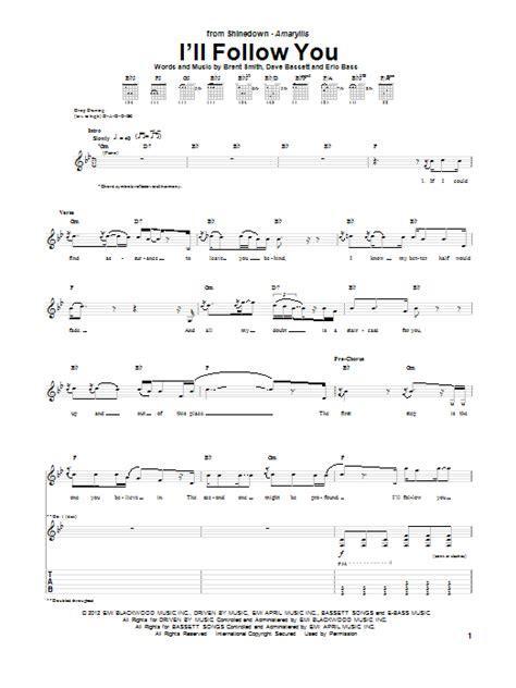 ill follow  sheet  shinedown guitar tab