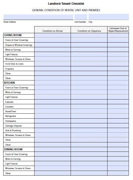 florida landlord tenant move  checklist fl house