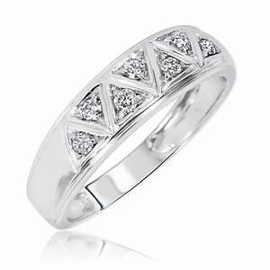 1 2 carat diamond trio wedding ring set 10k white gold for 10k white gold wedding ring